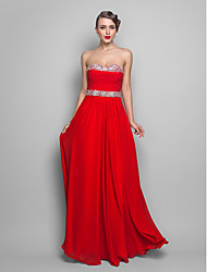 cheap -Ball Gown Open Back Prom Formal Evening Dress Sweetheart Neckline Strapless Sleeveless Floor Length Chiffon with Ruched Beading Sequin 2021