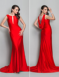 cheap -Mermaid / Trumpet Elegant Formal Evening Dress Bateau Neck Sleeveless Sweep / Brush Train Jersey with Lace Crystal Brooch 2021