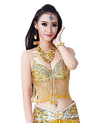 cheap -Belly Dance Tops Women's Performance Polyester Appliques / Tassel / Crystals / Rhinestones Sleeveless Top