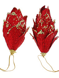 cheap -2PCs Red Glitter Pinecones Christmas Decoration