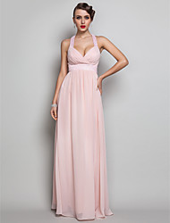 cheap -Sheath / Column Elegant Open Back Prom Wedding Party Dress V Neck Sleeveless Floor Length Chiffon with Ruched Beading 2021