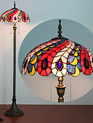 cheap -Tiffany Style Reading Floor Lamp Stained Glass Serenity Victorian Lampshade in 61 Inch Tall Antique Arched Base for Bedroom Living Room Table Set