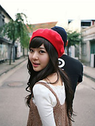 cheap -Unisex Cotton Beret Hat, Casual Solid Winter Black Purple Red Pink