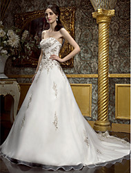 cheap -A-Line Wedding Dresses Sweetheart Neckline Court Train Chiffon Strapless Wedding Dress in Color Sparkle & Shine with Beading Embroidery Crystal Floral Pin 2020