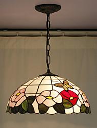 cheap -Flower Pattern Pendant, 2 Light, Tiffany Resin Glass Painting Processing