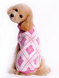 cheap -Dog Sweater Winter Dog Clothes Blue Pink Costume Woolen Plaid / Check XS S M L XL