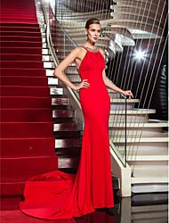 cheap -Sheath / Column Elegant Sparkle & Shine Open Back Formal Evening Valentine's Day Black Tie Gala Dress Halter Neck Sleeveless Court Train Jersey with Pleats Crystals 2021