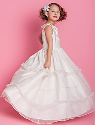 cheap -Ball Gown / A-Line Floor Length First Communion / Wedding Party Organza / Satin Sleeveless Jewel Neck with Buttons / Ruched / Ruffles / Spring / Fall / Winter