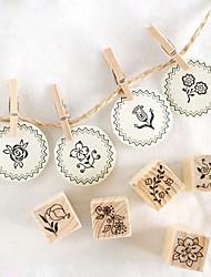 Недорогие -12шт DIY Деревянный Цветочный Стиль Stamp Set
