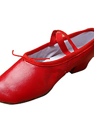 cheap -Women's Ballet Shoes / Ballroom Shoes Leather Gore Heel Chunky Heel Non Customizable Dance Shoes Nude / Black / Red