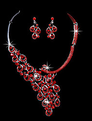 cheap -Red Crystal Peacock marriage suit ear clip earrings necklace