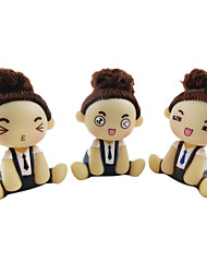 cheap -Mousse Curly Hair Updo Little Girl Suspender Pant Spring Head ABS Doll(Random Color)