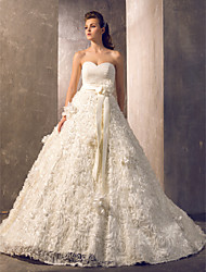 cheap -A-Line Wedding Dresses Sweetheart Neckline Court Train Tulle Floral Lace Strapless with Sashes / Ribbons 2020