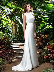 cheap -Sheath / Column Bateau Neck Sweep / Brush Train Chiffon Regular Straps Made-To-Measure Wedding Dresses with 2020