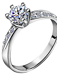 cheap -Women's Band Ring Belle Ring Diamond Cubic Zirconia tiny diamond Silver Zircon Silver Plated Six Prongs Ladies Classic Bridal Wedding Anniversary Jewelry Solitaire Round Cut Halo Love