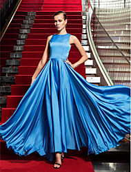 cheap -A-Line Celebrity Style Inspired by Emmy Vintage Inspired Formal Evening Military Ball Dress Jewel Neck Sleeveless Floor Length Satin Chiffon with 2021