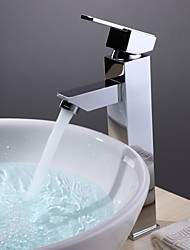 cheap -Bathroom Sink Faucet - Standard Chrome Vessel One Hole / Single Handle One HoleBath Taps