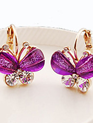cheap -Women's Crystal Stud Earrings Butterfly Animal Ladies Classic Crystal Rhinestone Earrings Jewelry Purple / Green / Blue For Daily Casual