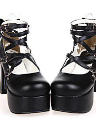 cheap -Women's Lolita Shoes Classic Lolita Handmade High Heel Shoes Bowknot 9.5 cm Black PU Leather / Polyurethane Leather Halloween Costumes