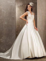 cheap -A-Line Wedding Dresses Queen Anne Sweep / Brush Train Lace Satin Sleeveless See-Through with Sash / Ribbon Beading Appliques 2020