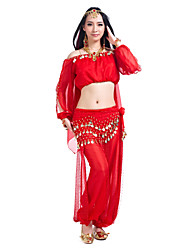 cheap -Belly Dance Outfits Women's Training Chiffon Sequin Long Sleeve / 60cm Top / Ballroom
