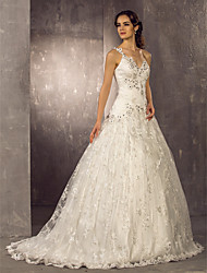 cheap -A-Line One Shoulder Sweep / Brush Train Lace / Satin Spaghetti Strap Made-To-Measure Wedding Dresses with Beading / Appliques 2020
