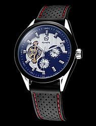 Недорогие -Муж. Часы со скелетом Авиационные часы С автоподзаводом силиконовый Черный Защита от влаги С гравировкой Аналоговый Белый Черный