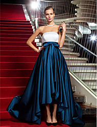 cheap -A-Line Chic & Modern Color Block Minimalist Formal Evening Black Tie Gala Dress Strapless Sleeveless Asymmetrical Satin with Bow(s) Pleats 2021