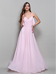 cheap -Ball Gown Open Back Formal Evening Military Ball Dress Straps Sleeveless Floor Length Chiffon with Criss Cross Draping 2021