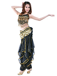 cheap -Belly Dance Outfits Women's Training / Performance Chiffon Coin / Beading / Sequin Sleeveless Natural Top