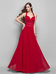 cheap -Sheath / Column Minimalist Open Back Prom Formal Evening Military Ball Dress Halter Neck Sleeveless Floor Length Chiffon with Side Draping 2020
