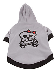 cheap -Dog Hoodie Winter Dog Clothes Breathable Gray Costume Cotton Skull Halloween XS S M L