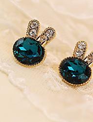 cheap -Women's Crystal Stud Earrings Dainty Ladies Crystal Rhinestone Imitation Diamond Earrings Jewelry Green For Daily Casual