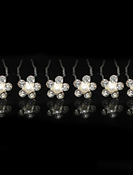 cheap -Nice Six Pieces Alloy Wedding Bridal Hairpins With Rhinestones And Imitation Pearls
