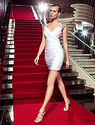 cheap -Sheath / Column Celebrity Style Holiday Homecoming Cocktail Party Dress V Neck Sleeveless Short / Mini Jersey with Criss Cross 2021
