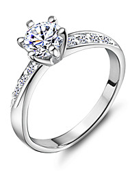 cheap -Women's Band Ring Silver Copper Platinum Plated 18K Gold Wedding Party Jewelry Simulated / Rhinestone / Alloy