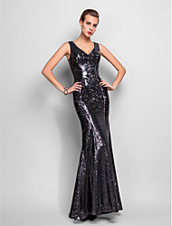 cheap -Mermaid / Trumpet V Neck Floor Length Sequined Celebrity Style / Beaded & Sequin Formal Evening / Military Ball Dress 2020 with Sequin / Pleats
