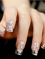 billige -12 pcs 3D Negle Stickers Blonde klistermærker Smuk Negle kunst Manicure Pedicure Daglig Blomst / Bryllup / Mode / Lace Sticker / 3D Nail Stickers / ABS
