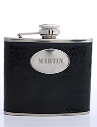cheap -Personalized Father's Day Gift Black 5oz PU Leather Capital Letters Flask