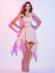 cheap -A-Line Halter Neck Asymmetrical Chiffon High Low / Pastel Colors Cocktail Party / Homecoming Dress with Beading / Ruched 2020