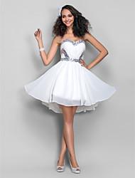 cheap -A-Line Dress Sweetheart Neckline Sleeveless Short / Mini Chiffon with Sequin Draping 2020