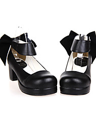 cheap -Women's Lolita Shoes Classic Lolita Handmade High Heel Shoes Solid Colored 4.5 cm Black PU Leather / Polyurethane Leather Halloween Costumes