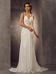cheap -Sheath / Column Wedding Dresses Sweetheart Neckline Sweep / Brush Train Chiffon Regular Straps with Ruched Beading 2020