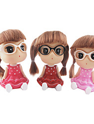 cheap -Twin Tail Little Girl Wearing Dress Glasses Meganekko Spring Head ABS Doll Desktop Furnishing Article(Random Color,1PCS)