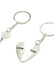 cheap -key & Heart Shaped Lovers Couple Metal Keychains