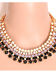 cheap -Women's Statement Necklace Statement Fashion Acrylic Resin Alloy Black Green Blue Necklace Jewelry For Party Daily