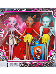 cheap -Fashion Girl 3pcs Zombie Barbie Doll with Dresses and Accessories (Random Color)