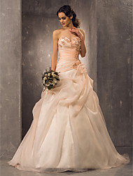 cheap -Ball Gown Sweetheart Neckline Court Train Organza Strapless Glamorous / Vintage Backless Wedding Dresses with Beading / Appliques / Side-Draped 2020