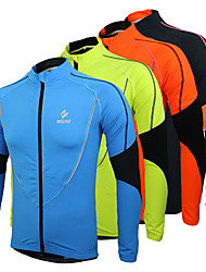 cheap -Arsuxeo Men's Cycling Jersey Cycling Jacket Bike Jersey Top Thermal / Warm Fleece Lining Breathable Sports Patchwork Fleece Polyester Winter Black / Orange / Green Mountain Bike MTB Road Bike Cycling