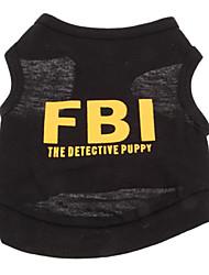 Недорогие -Собака Футболка Одежда для собак Полиция / армия Буквы и цифры Черный Желтый Черный / Желтый Хлопок Костюм Назначение Лето Муж. Праздник Мода